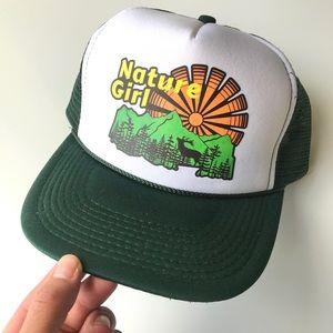Nature Girl snap back trucker hat green